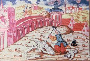 Illustration uit een Moravische haggadah uit 1737