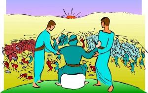 Mozes met Aäron en Hur